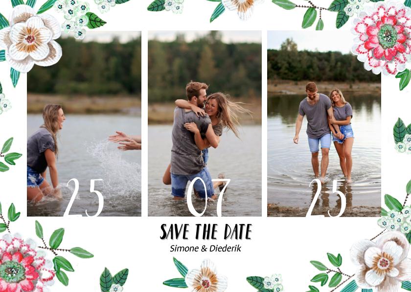 Trouwkaarten - Save the date bloemen botanisch met foto's