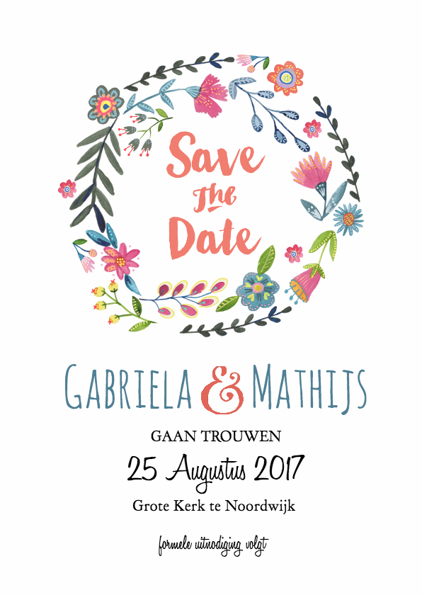 Trouwkaarten - Save the Date Bloemen Krans