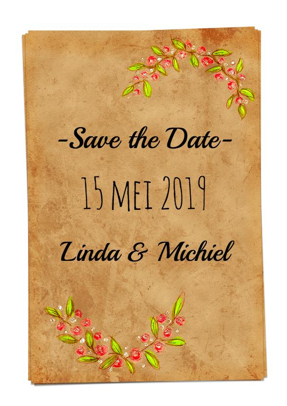 Trouwkaarten - Save the Date bloemen papier- HR