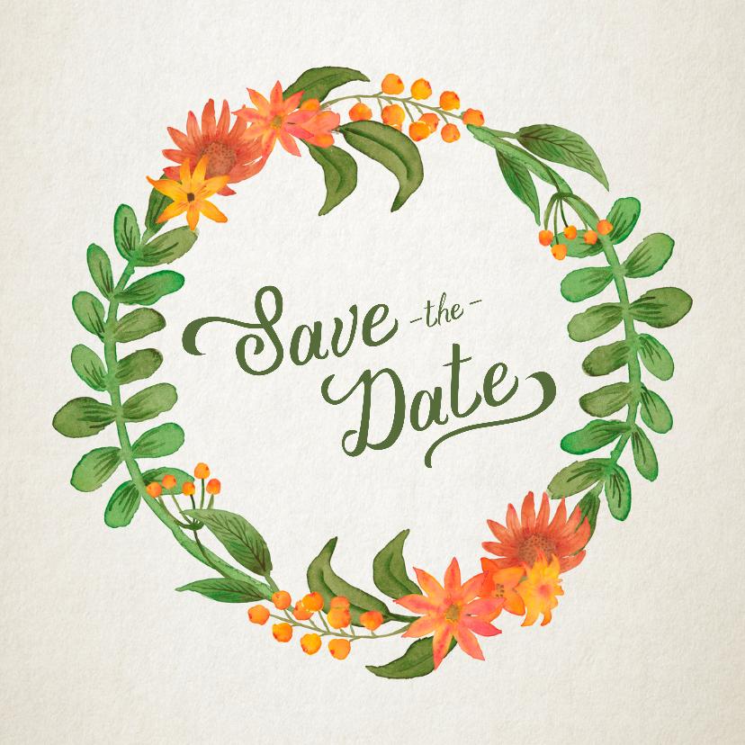 Trouwkaarten - Save the Date bloemenkrans retro