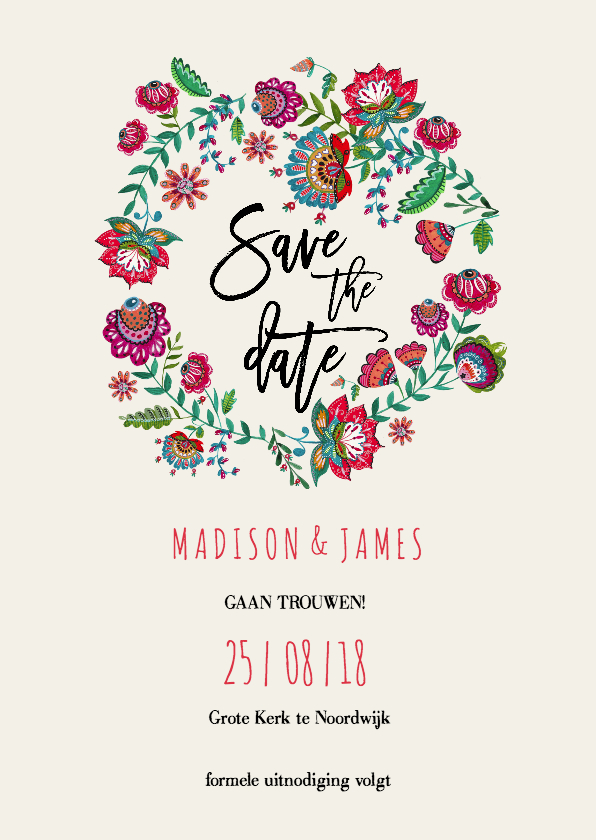 Trouwkaarten - Save the Date Bohemian Bloemen