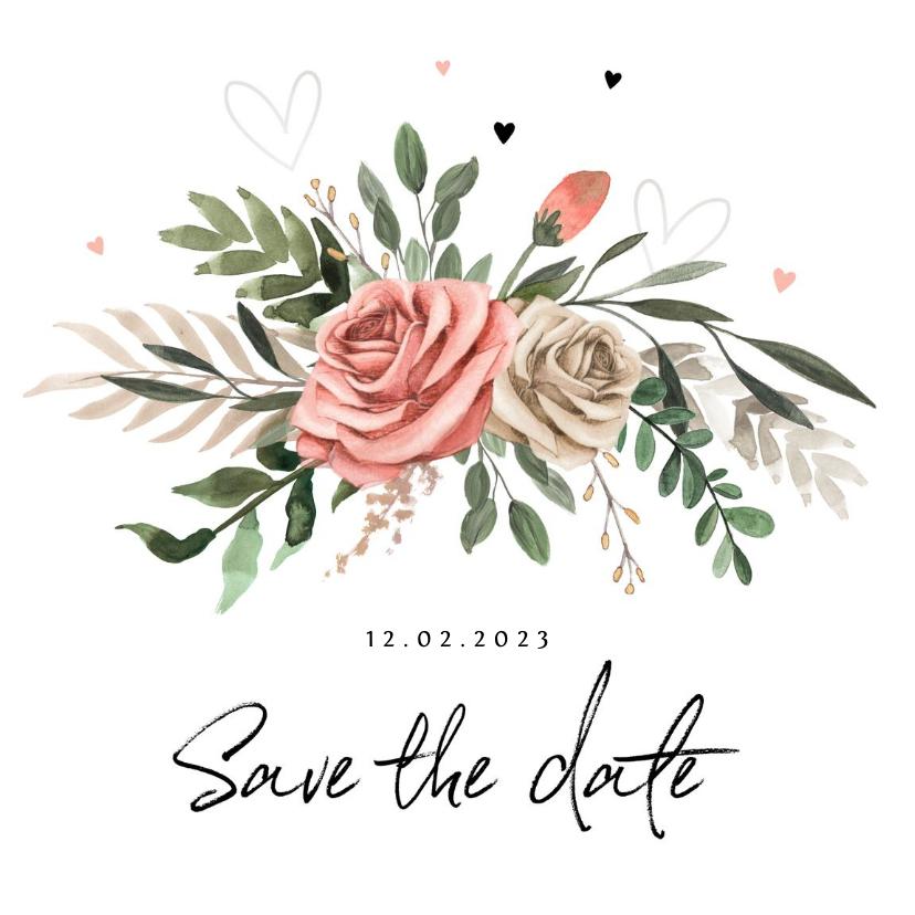 Trouwkaarten - Save the Date Bohemian met bloemen