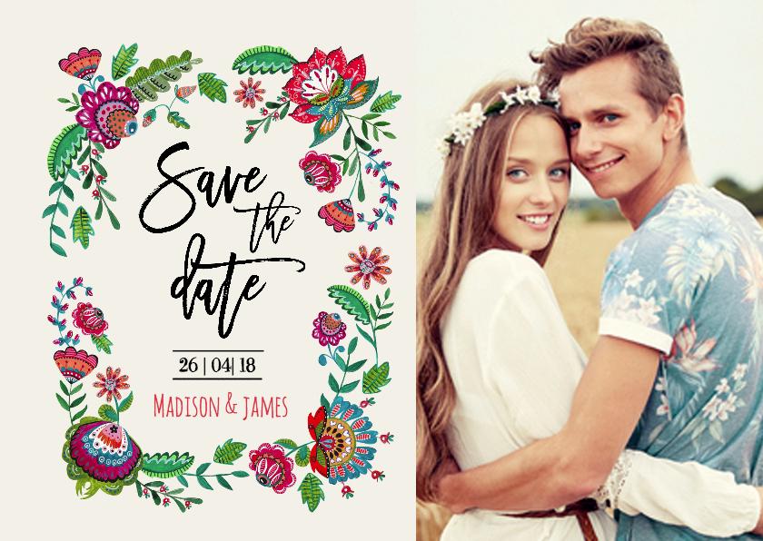 Trouwkaarten - Save the Date Boho Bloemen