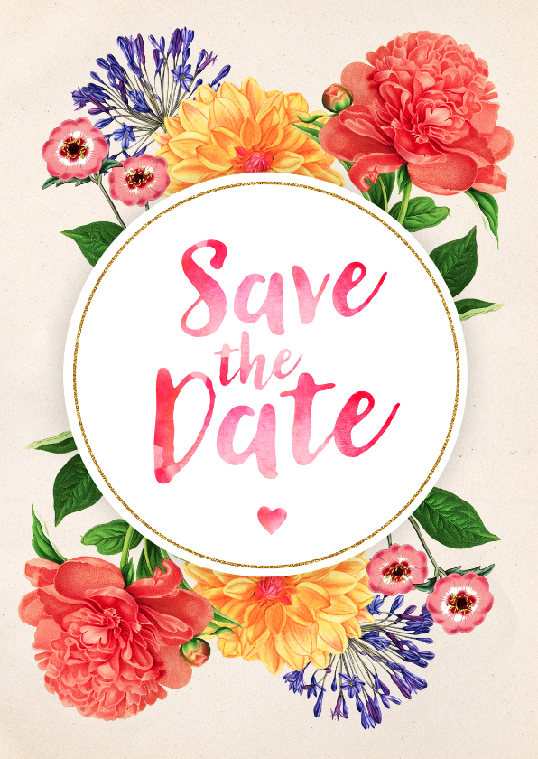 Trouwkaarten - Save the Date Botanisch Aquarel