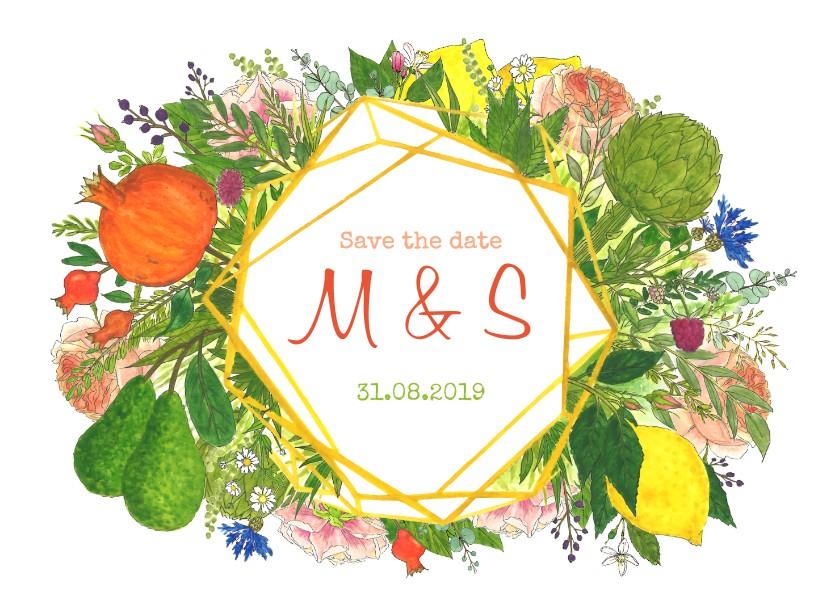 Trouwkaarten - Save the date botanische kristal met bloemen en fruit