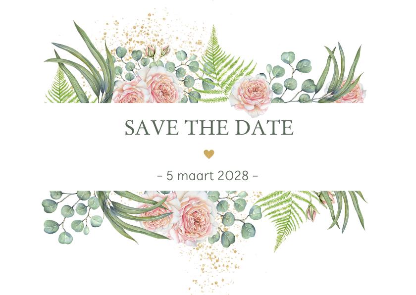 Trouwkaarten - Save the date botanische rozen