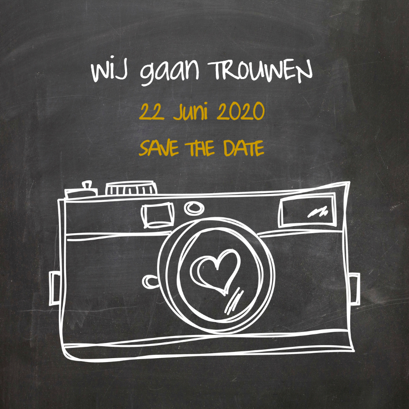 Trouwkaarten - Save the Date Camera Hart - SG