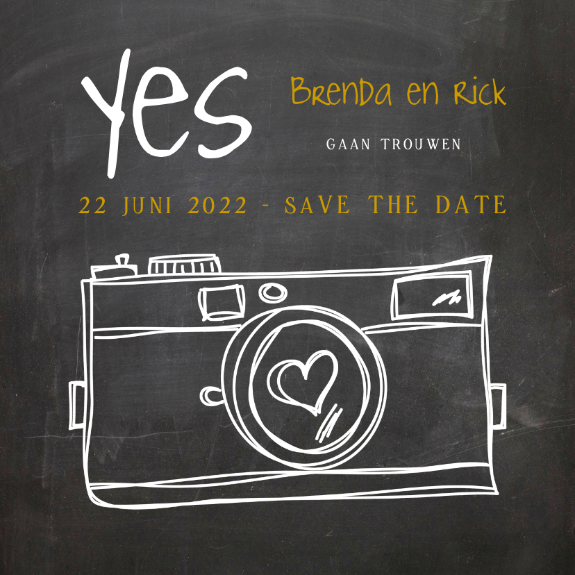 Trouwkaarten - Save the Date Camera Hart