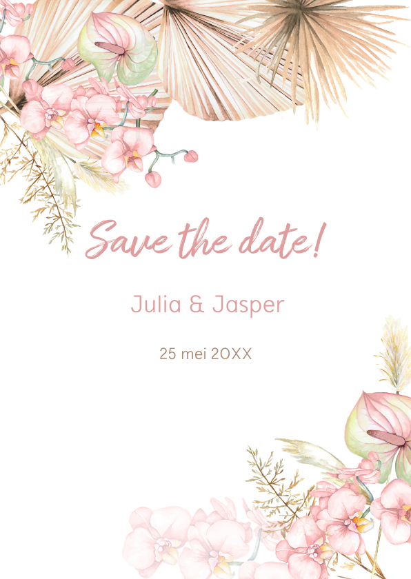 Trouwkaarten - Save the date droogbloemen orchidee