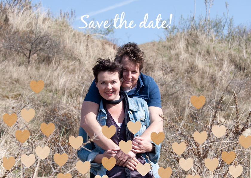 Trouwkaarten - Save the date eigen foto hartjes