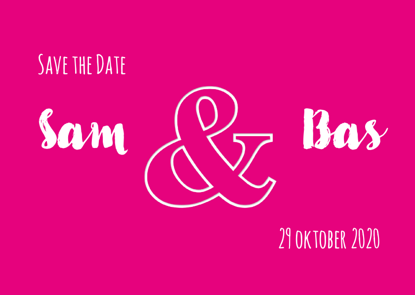 Trouwkaarten - Save the Date & Magenta