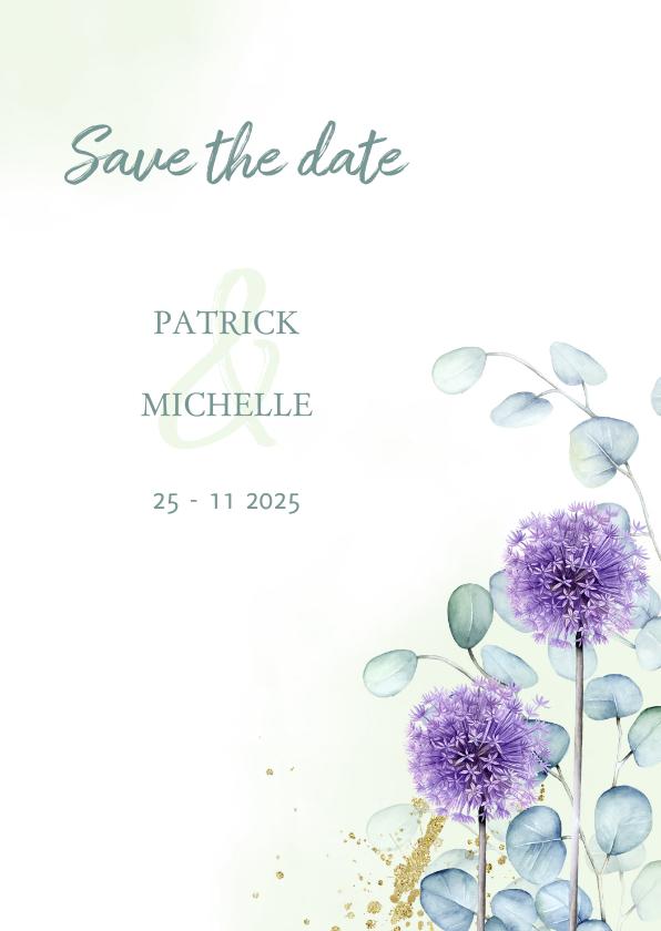 Trouwkaarten - Save the date euqalyptus paarse bloem