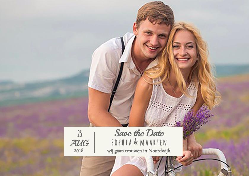 Trouwkaarten - Save the Date foto en strepen