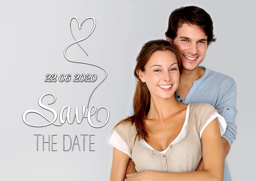 Trouwkaarten - Save the Date foto tekst wit SG