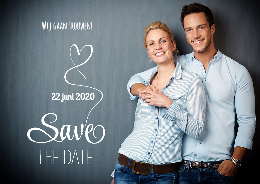 Trouwkaarten - Save the Date fotokaart wit - SG