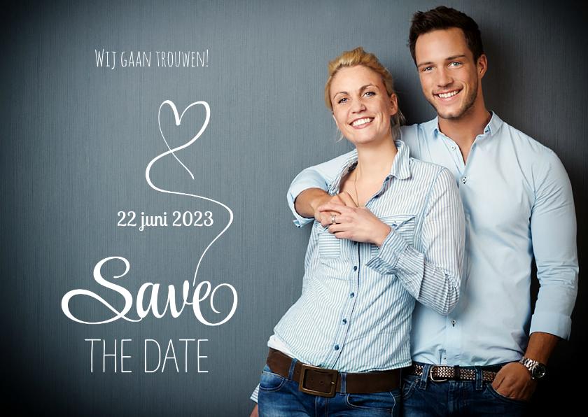 Trouwkaarten - Save the Date fotokaart wit
