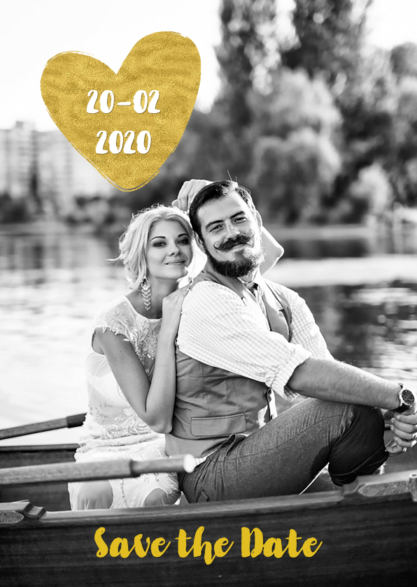 Trouwkaarten - Save the Date goud hart - OT