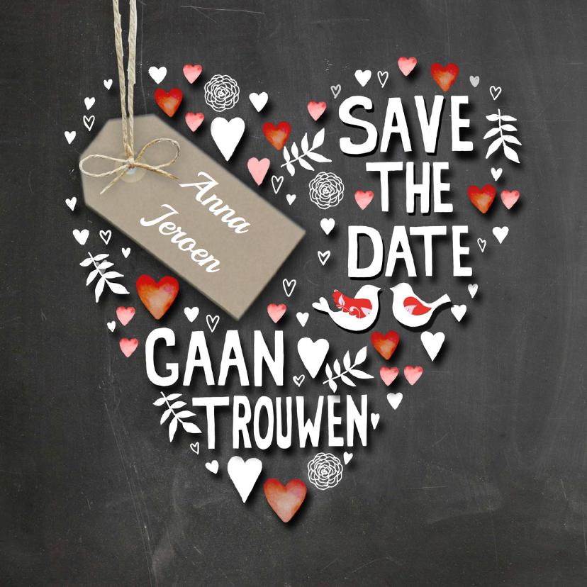 Trouwkaarten - Save The Date handlettering hart