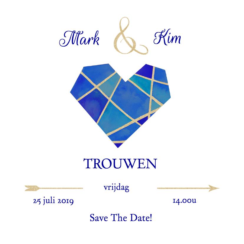 Trouwkaarten - Save the date hart blauw