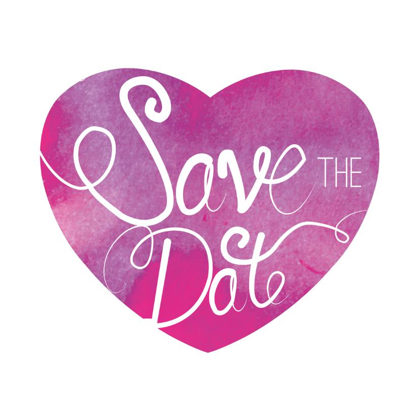 Trouwkaarten - Save the date - hart inkt - MD