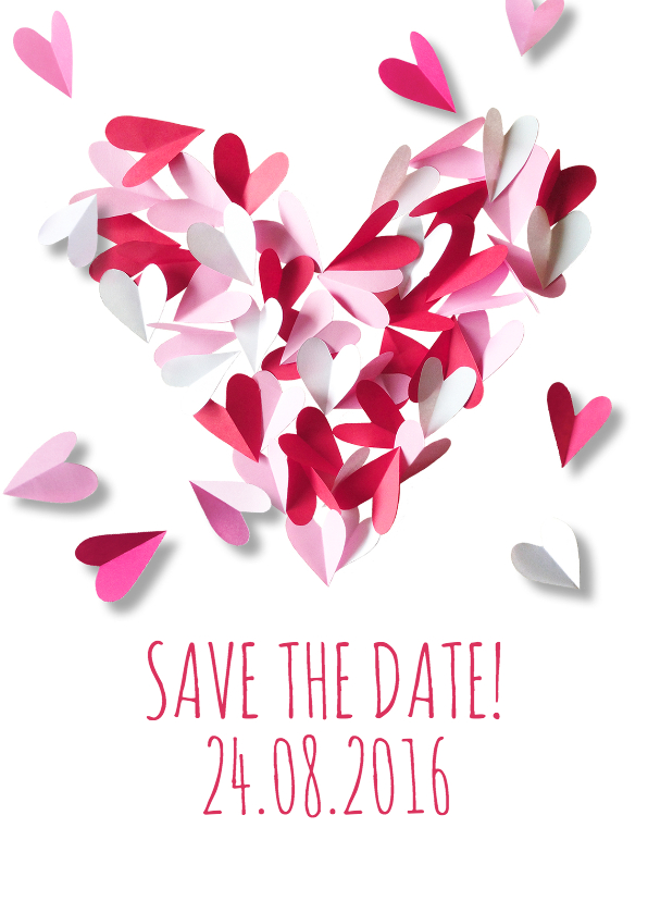 Trouwkaarten - Save the date hart papier