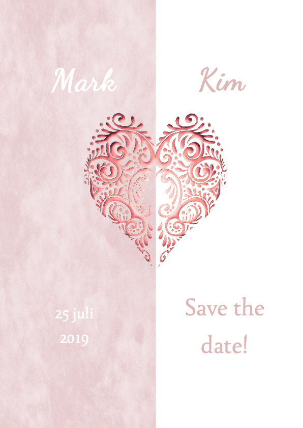 Trouwkaarten - Save the date hart roze