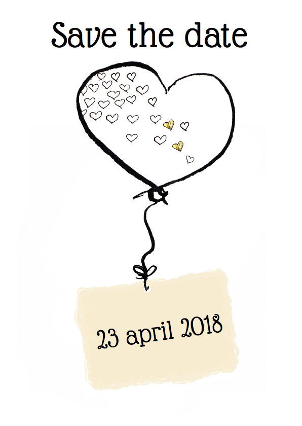 Trouwkaarten - Save the date Hartjes ballon
