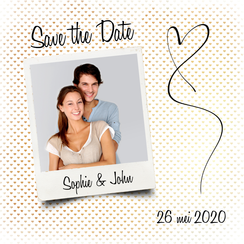 Trouwkaarten - Save the Date hartjes foto - SG