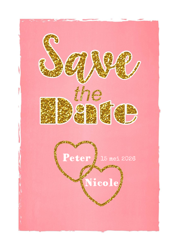 Trouwkaarten - Save the Date hip lief goud