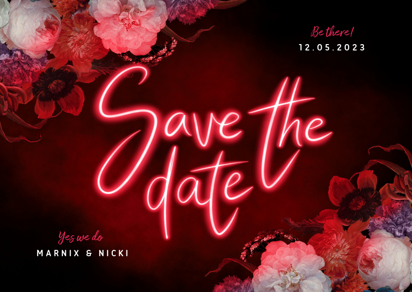 Trouwkaarten - Save the date hip neon bloemen