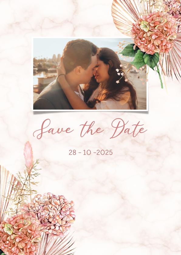 Trouwkaarten - Save the date hortensiabloemen