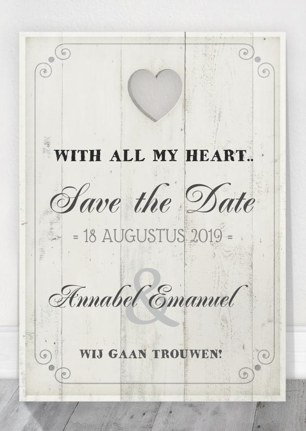 Trouwkaarten - Save the Date Houten Tekstbord