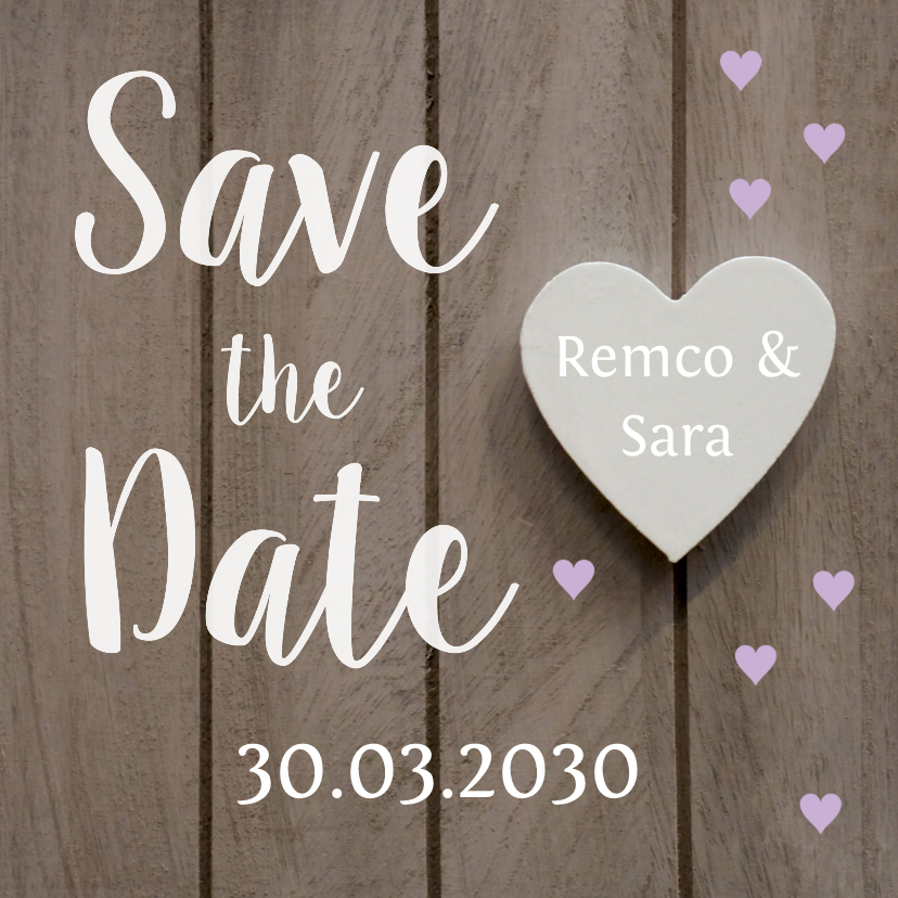 Trouwkaarten - Save the Date houtlook hartjes