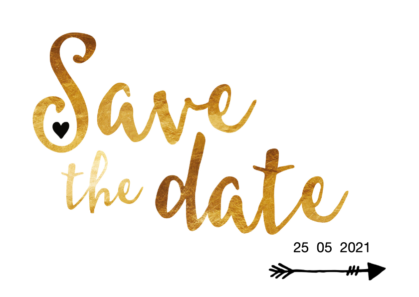 Save the date in gouden letters 1