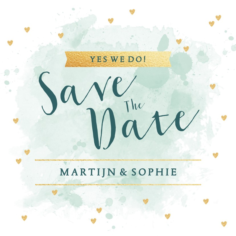 Trouwkaarten - Save the Date kaart aquarel tekst hartjes