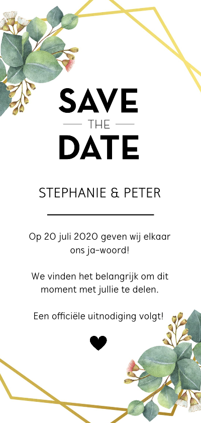Trouwkaarten - Save the date kaart botanical