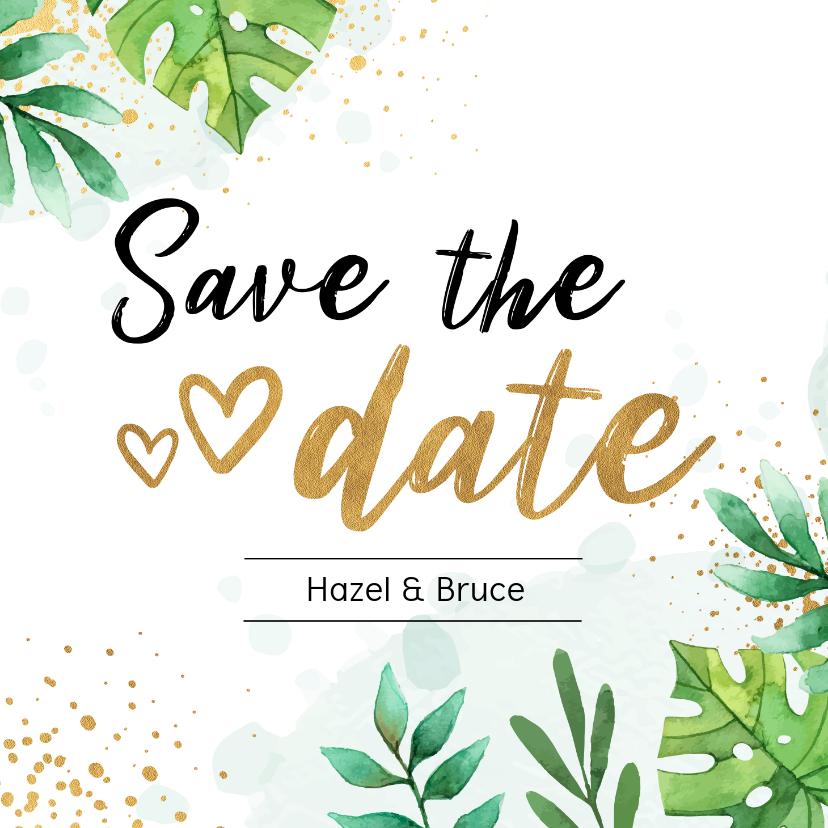 Trouwkaarten - Save the date kaart botanisch goud