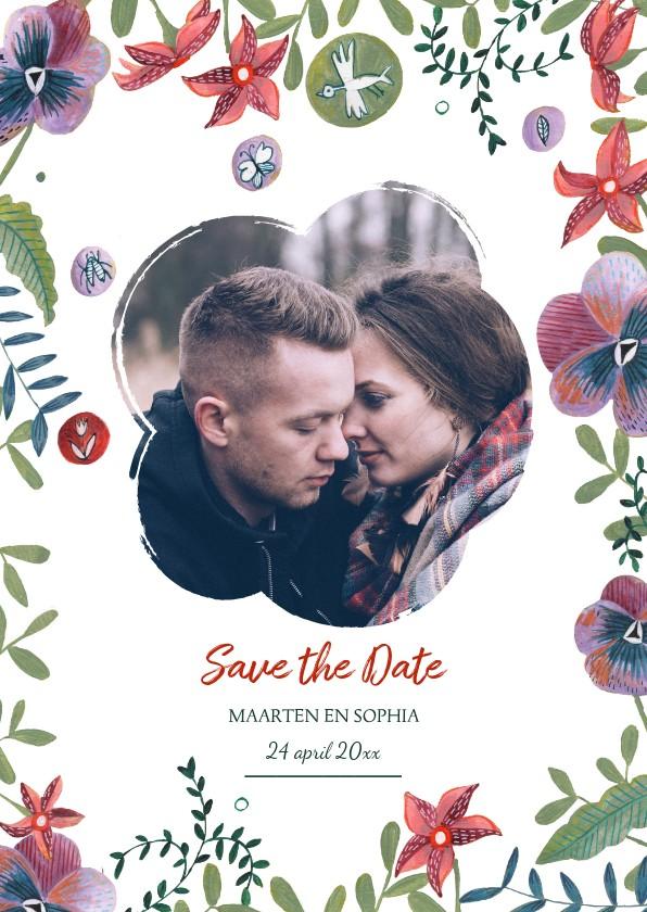 Trouwkaarten - Save the Date kaart botanische bloemen