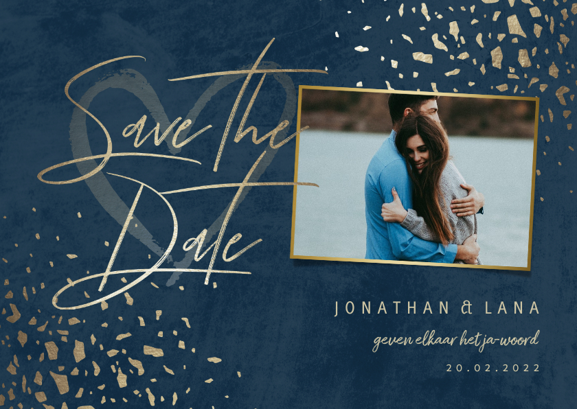 Trouwkaarten - Save the date kaart foto donkerblauw met terrazzo patroon