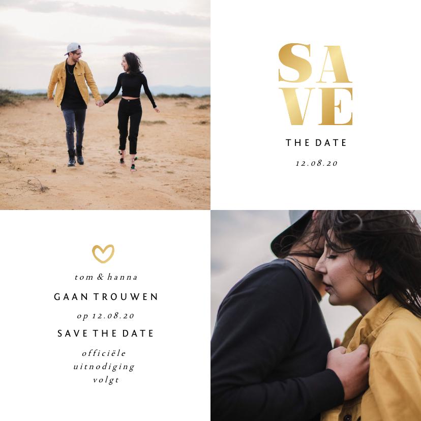 Trouwkaarten - Save the date kaart gouden accenten met foto's vierkant