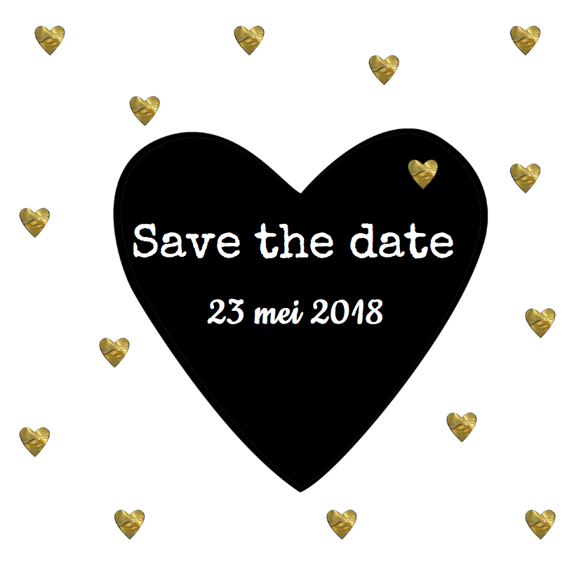 Trouwkaarten - save the date kaart hartjes