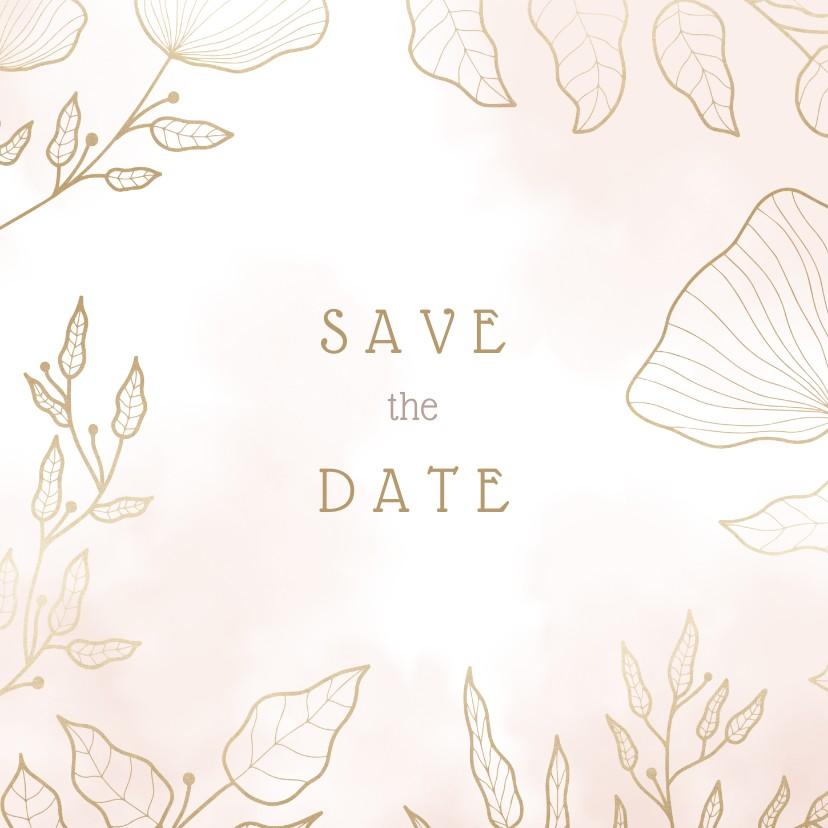 Trouwkaarten - Save the date kaart met elegante bloemen en waterverf