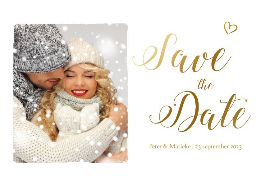 Trouwkaarten - Save the date kaart met gouden letters