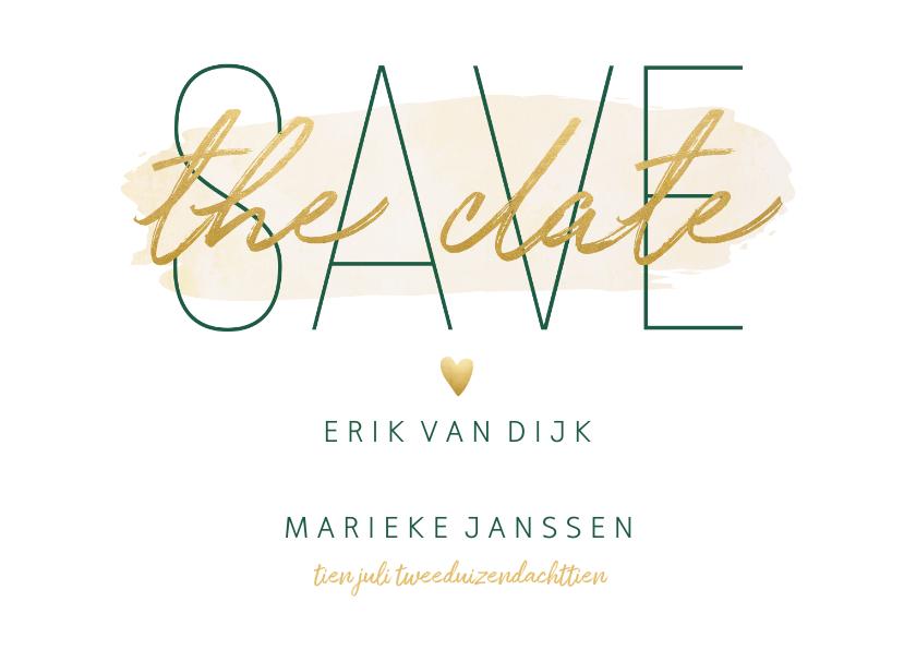 Trouwkaarten - Save the date kaart met goudlook en waterverf