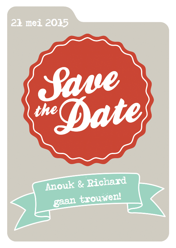 Trouwkaarten - Save the date kaart met tabblad