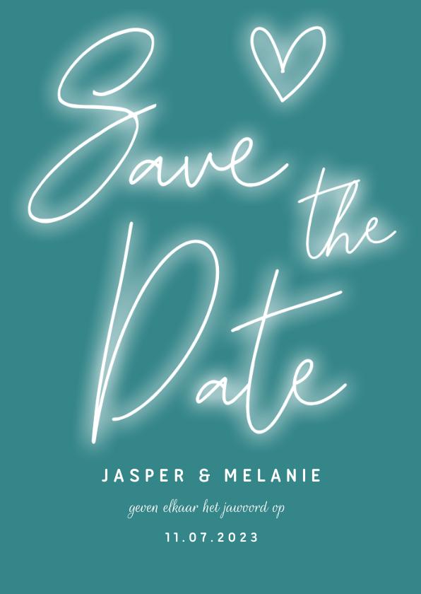 Trouwkaarten - Save the date kaart neon letters, hartje en foto