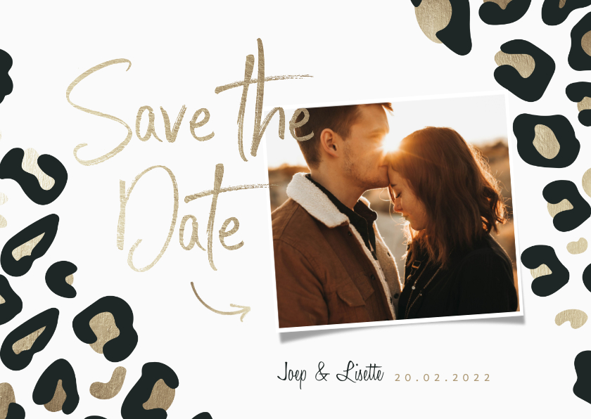 Trouwkaarten - Save the Date kaart panterprint goudlook met foto
