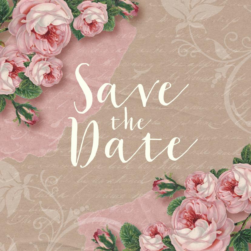 Trouwkaarten - Save the date kaart rozen kraftlook stijlvol