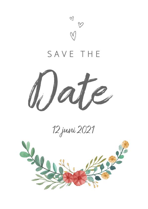 Trouwkaarten - Save the date kaart stijlvol met bloemen