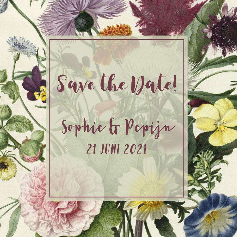 Trouwkaarten - Save the date kaart stijlvol  met vintage bloemen